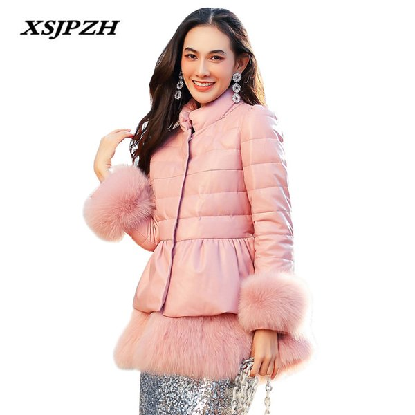 2017 Winter New Women's Genuine Leather Down Jacket In The Long Sheep Skin Waist Was Thin Fox Fur Grass Warm Coat LB267