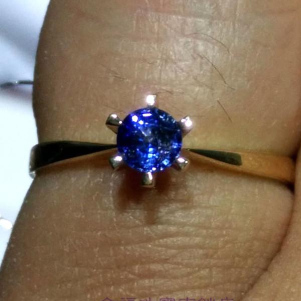 0.28 карат VS Сапфир кольцо 18k желтое золото Engagment кольцо кукуруза синий драгоценный камень Валентина подарок для подруга студент обещание крошечные C18122801