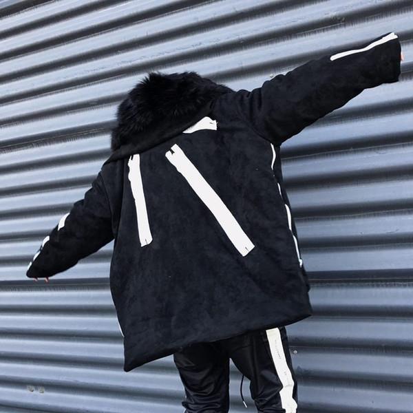 Mens inverno Designer Coats Moda Painéis Zipper Grosso Quente Brasão Coats Marca New Fluffy Hat Oversize