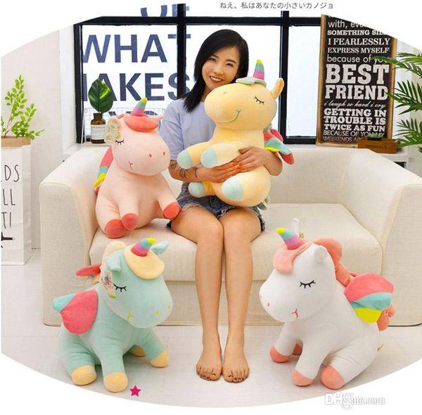 Karikatür Yalan Unicorn Peluş Oyuncak Yumuşak Bebek Sevimli 40 cm melek Dolması Hayvan Unicorn Sarılın Yatıştırmak Uyku Atı ...