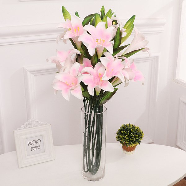 PU simulation lily flower 3 lilies flowers 2 Bud silk simulation flower ground fragrance lily flower bouquet wedding home decor