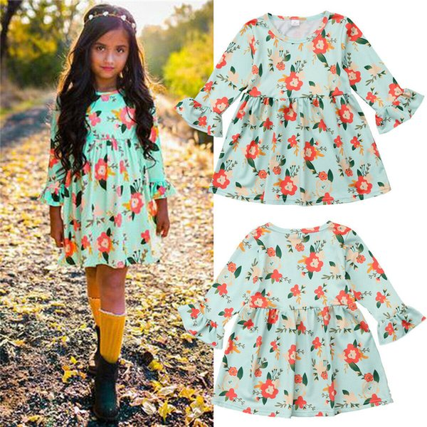 Toddler Baby Girls Long Sleeve Floral Flower Print Dress Outfits Clothes Swing