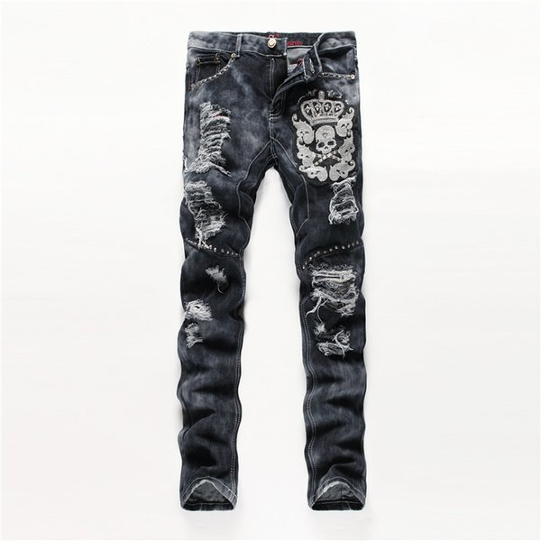 2018 Fashion Embroider Jeans desgastados rasgados y desgastados para hombre Pantalones vaqueros largos para hombre Pantalones vaqueros delgados para hombre Hip Hop Hombres Jeans negro