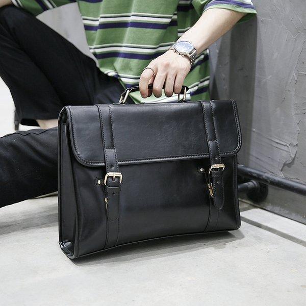 Yeni Moda Çılgın At Erkekler PU Deri Evrak Çantaları Messenger Çanta 14