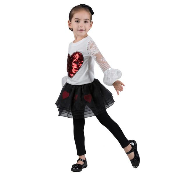 Les filles paillettes lettre Tops enfants designer T-shirt à manches longues en coton col rond fleur collier retour bouton rayure amour paillettes 43
