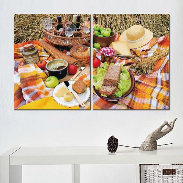 2 sets nature food vegetables canvas print arts pictures for dining room decor