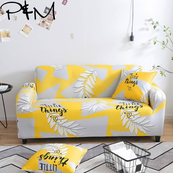Excellent Papamima Leaves Print Stretch Sectional Sofa Covers Single Two Three Four Seats Soft Slipcovers Elastic Couch Cover Living Room Chair Slipcovers Machost Co Dining Chair Design Ideas Machostcouk
