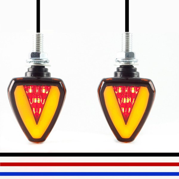 Motorcycle Indicator Led Red+Amber Light Front & Rear Turn Light Brake Stop Light Signal Lamp Universal for Harley for Yamaha