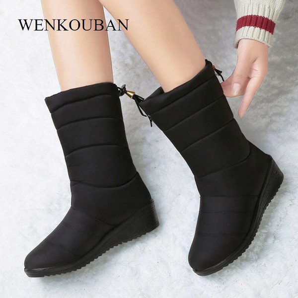 Waterproof Winter Boots Female Shoes Mid-calf Down Women Warm Ladies Snow Bootie Wedge Rubber Plush Insole Botas Mujer