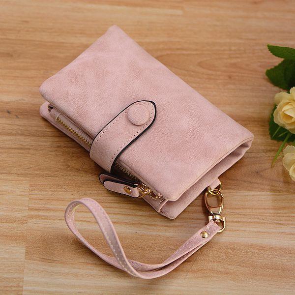 Diseñador Mujer Pulsera Con Correa Coin Pocket Vintage Soft Pink Suede Purse Ladies Carpeta Clips de Dinero 6colors Billetera