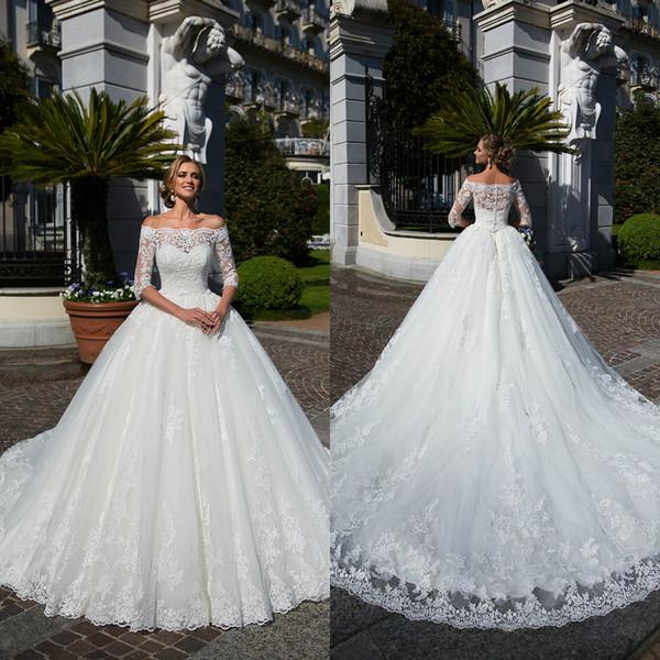 greatvip / Princesa blanca 2019 Vestidos de novia de encaje fuera del hombro Vestidos de novia de encaje de manga larga de tren de barrido Más tamaño Vestido