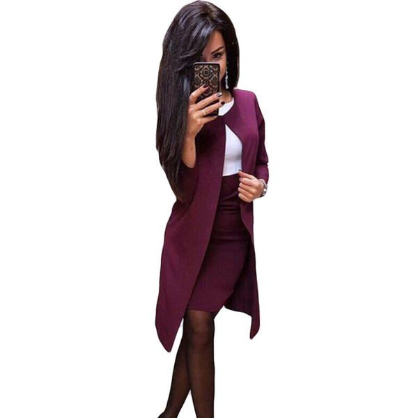 Mvgirlru Office Lady Formal Dress Suits Business Wear Women Long Blazer Jacket+ Sheath Dress 2 Piece Set J190616
