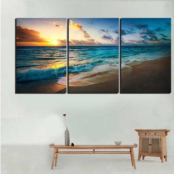 Modüler Poster Ev Dekorasyonu Salon 3 adet Deniz Okyanus Sunrise Görünüm Çerçevesi HD Baskılı Modern Kanvas Resimleri Duvar Resim Sanatı