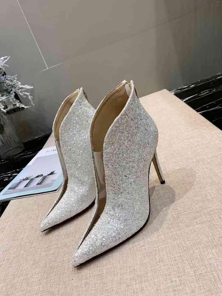 designer de moda acrílico cristal costura filme de qualidade superior botas curtas festa de casamento da dama de honra pontas saltos altos banquete