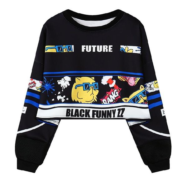 Average code shirt long-sleeved T-shirt new cartoon cat hair print loose short long-sleeved bodyguard clothes in autumn and winte