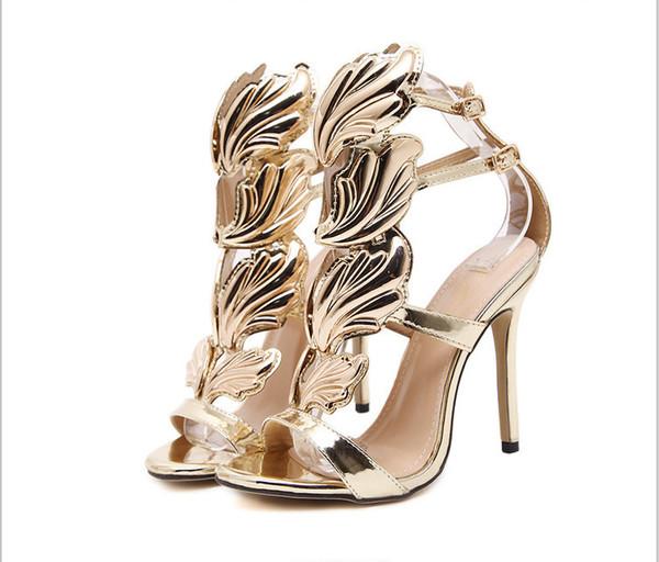 Or Angle Ailes De Mariée Chaussures De Mariage De Mode Modeste Sandales À Talons Hauts À Talon Haut Femmes Parti Soirée Robe De Soirée
