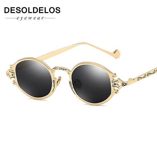 2019 Nuovi occhiali da sole punk ovali piccoli Design del marchio da donna 2019 Occhiali da sole da uomo vintage rotondi in metallo Occhiali da sole Uv400