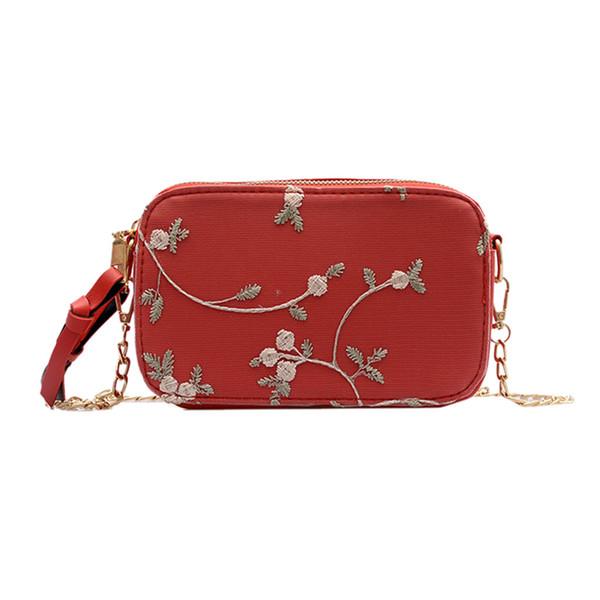 MUQGEW Bags for Women 2019 Retro Leaves Flowers Chians Crossbody Emboss Zipper Embroidery Travel MessengerBag bolsa feminina NEW