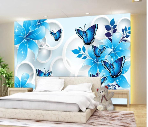 top popular Blue lily butterfly 3D TV background wall mural 3d wallpaper 3d wall papers for tv backdrop 2021