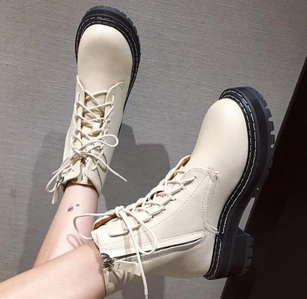 Botas pretas Sapatinho Mulher 2019 Sapatos Botas Dedo Do Pé Redondo Senhoras Rendas Até Mulheres de Inverno Designer De Luxo Outono Med Elegante De Borracha