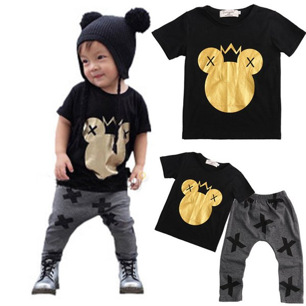 Toddler Kids Cartoon Mouse Clothes Set Casual manica corta in cotone Summer Wear Top T-shirt + Casual Pant Outfit Set per ragazzi