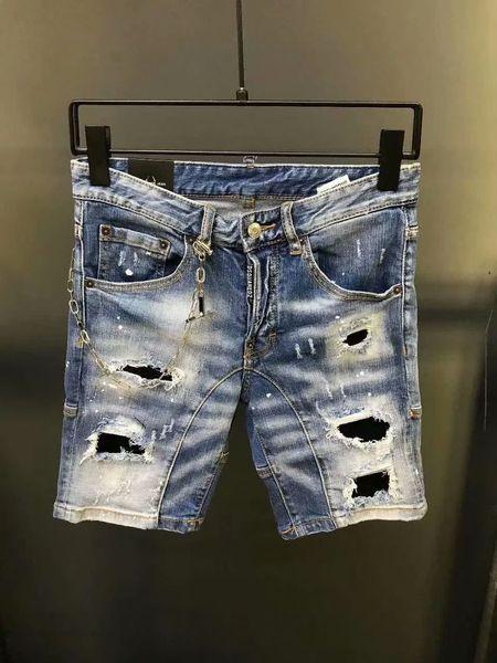 Italie ICON D2 Mode Homme Short Jeans Hip Hop Rock Moto Décontracté Designer Shorts Jeans Jeans Affligé Maigre Hommes Denim Biker Jeans D3442