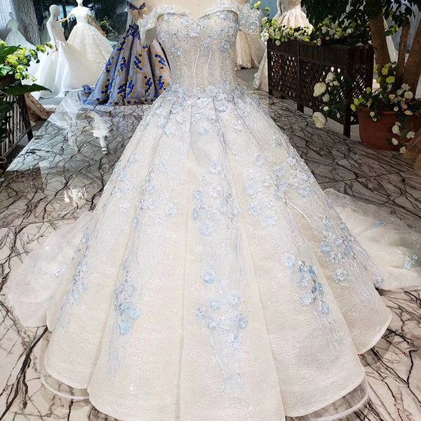 2019 Prom Dresses Short Front Long Back Lebanon 3D Flowers Lace Up Back Short Sweetheart Neck Pearl Applique Patterns Swollen Party Gowns