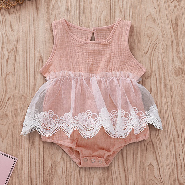 Girls Rompers Baby Jumpsuits INS Solid Sleeveless Graze Triangle Pants Bodysuit One Piece Newborn Infant Kids Clothing Q351