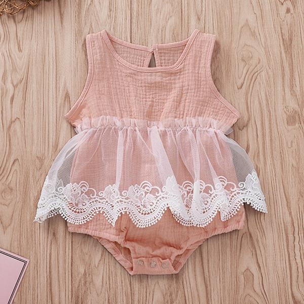 Kızlar Tulum Bebek Tulumlar INS Katı Kolsuz Graze Üçgen Pantolon Bodysuit Tek Parça Yenidoğan Bebek Çocuk Giyim Q351