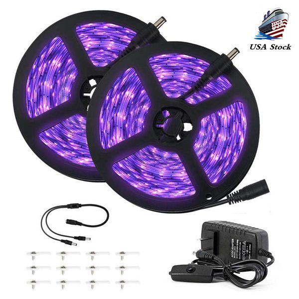 Striscia di luce nera UV da 33 piedi Blacklight flessibile 12V con lampada Uv da 600 unità Perline 10M LED Luce nera Nastro festivo