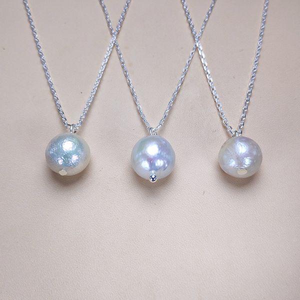 Naturel Baroque Collier De Perles 925 Pendentif En Argent 10-11mm Blanc Collier De Perles pour Femmes Mode Bijoux Cadeau De Mariage Cadeau