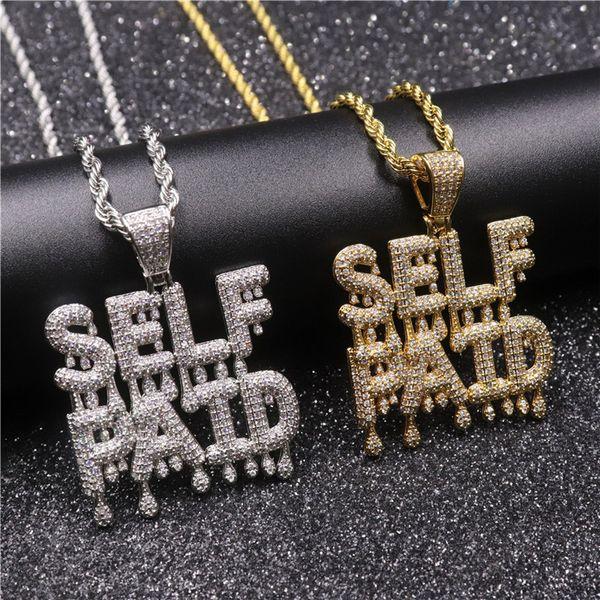 Hip Hop Iced Out Zircon 2 Filas Goteo Letra pequeña SELF PAID Collar Colgante Latón Oro Plata Plateado Para Hombre Bling Regalo de la joyería