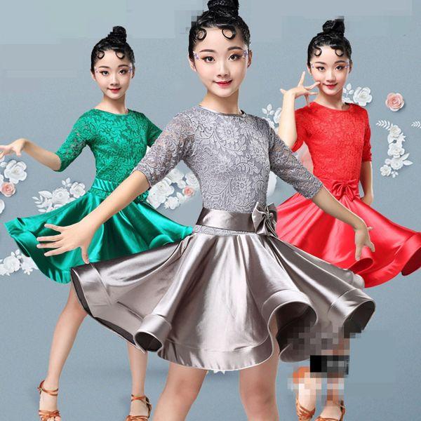sexy Ballroom Latin Dance Dresses Cha Cha Rumba Samba Lace Long Sleeves Children skirts practice wear kids for girls competition