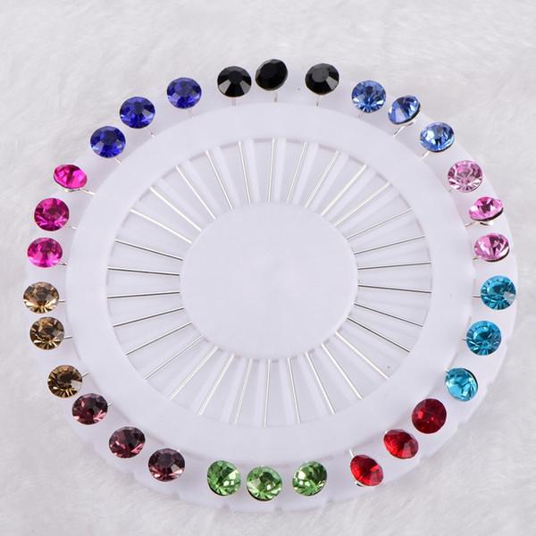 - Nuevo Hijab Pins rueda 30PCS Flor Cristal árabe musulmán Hijab Broches pin Para Mujeres Cabeza de seguridad Pañuelos de plata Color de mezcla de plata