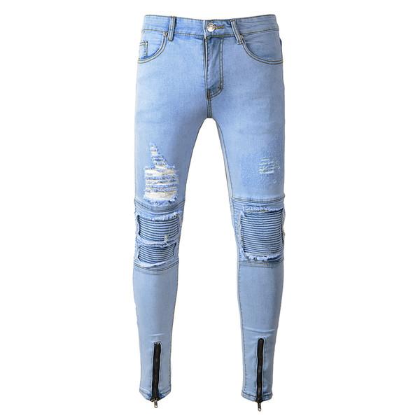 Acquista Pantaloni Da Motociclista Alla Moda Cool Da Uomo Eleganti Pantaloni Da Matita Slim Fit Con Jeans Strappati A $39.68 Dal Morph1ne | DHgate.Com