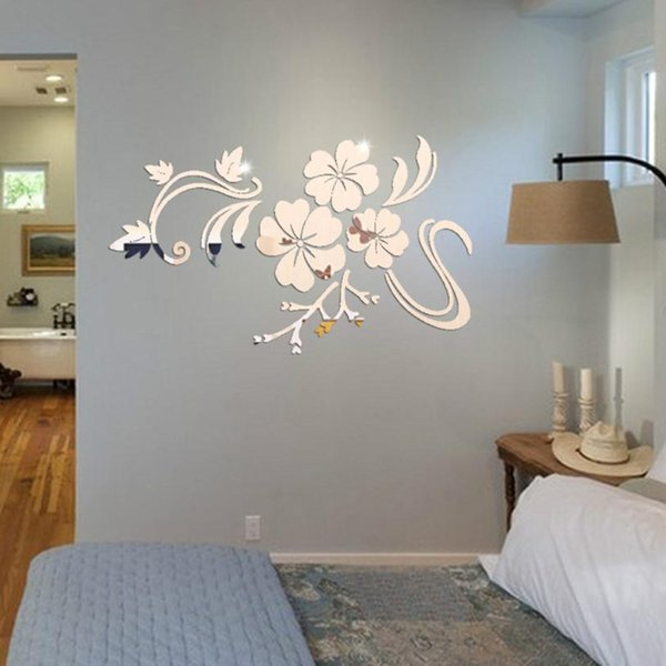 Art flower 3D Mirror Vinyl Removable Wall Sticker Decal Home Decor DIY Acrylic floral reflecting wall background stickers