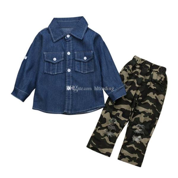 Crianças roupas de grife roupas meninas crianças Denim camisa + camuflagem buraco calça 2 pçs / set 2019 Primavera Outono Conjuntos de Roupas de bebê C6877
