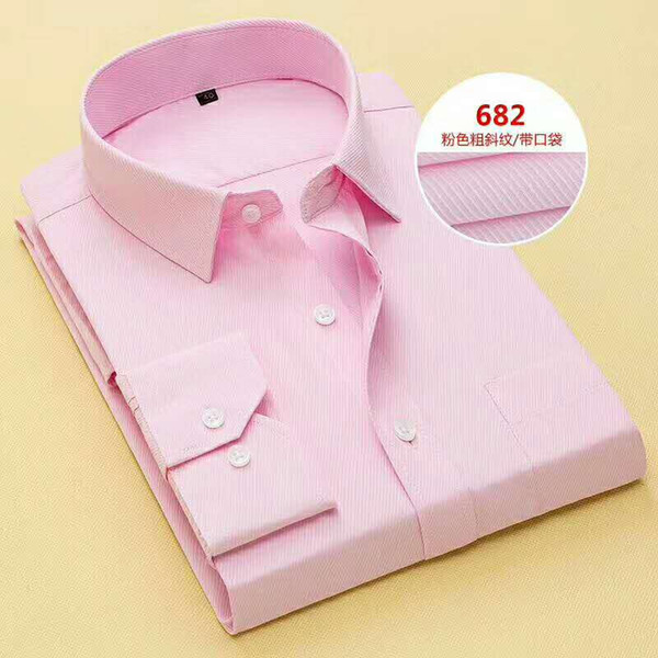 Brand New Pink/Blue/White Long Sleeve Groom Shirt Men Small pointed collar fold Formal Occasions Dress Shirts NO:03