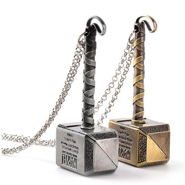 Portachiavi con martello Thor di Thor iniziale con catenina portachiavi in argento tono dorato