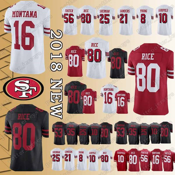 478a5adc2 San Francisco 49er Jersey 16 Joe Montana 80 Jerry Rice 10 Jimmy Garoppolo  56 Reuben Foster 25 Richard Sherman 69 McGlinchey promotion