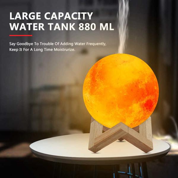 Nuovo 880ML umidificatore 3D Luna lampada luce Il diffusore olio essenziale USB Humidificador ultrasuoni notte fredda nebbia purificatore