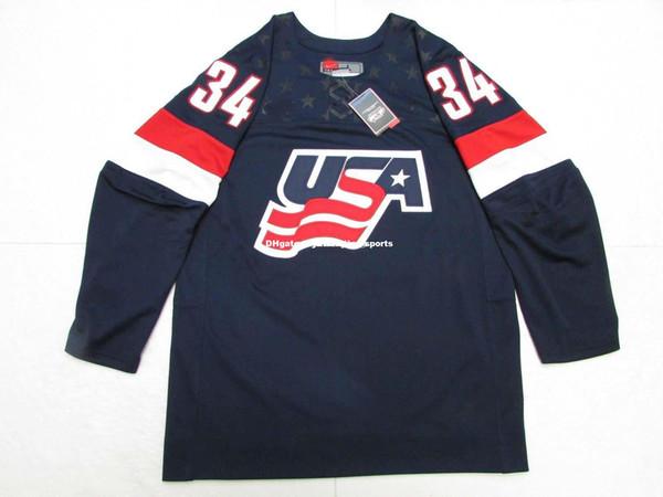 Barato Custom AUSTON MATTHEWS TEAM EE. UU. AZUL NK IIHF HOCKEY JERSEY Jerseys para hombre