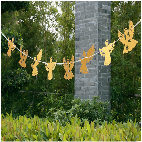 Creative Home Wall Decor 3m Angel Banner Pull Flowers Hanging Flag Wedding Holiday Party Centerpieces Garland 7zSH288
