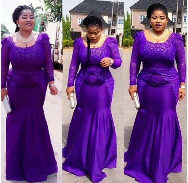 Elegant Purple Plus Size Evening Dresses Lace Long Sleeves Zipper Back Mother of the Bride Dress Zipper Back Prom Formal Gowns