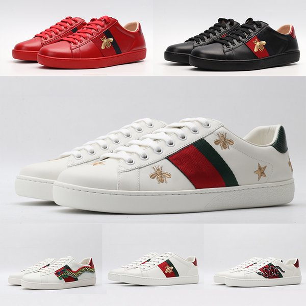 ACE Shoes Fashion Italy Vintage Black White Leather Flats Casual Shoes Red Green Stripes Star Snake Tiger Design platform Luxury Bee Sneaker
