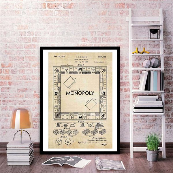 The yellow Vintage Monopolyingly Game Board Wall Art Canvas Poster And Print Canvas Painting Decorative Picture For Bedroom Home Decoration