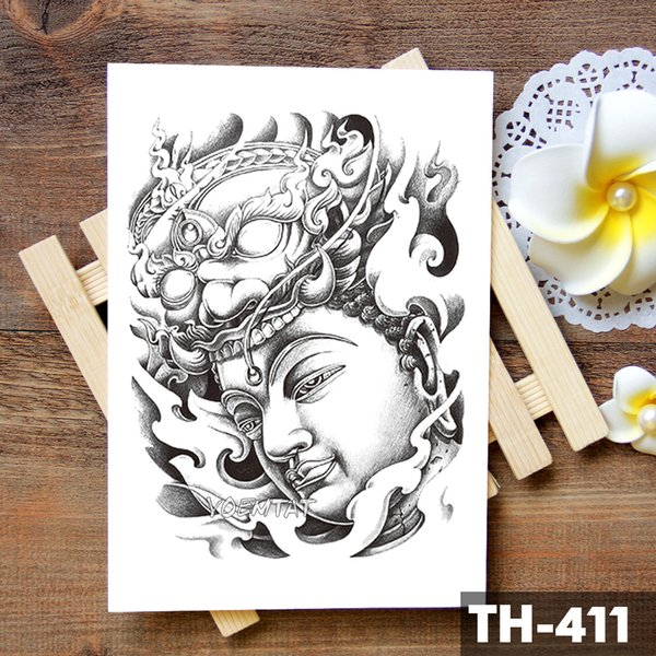 Красота здоровья Доброточная мудрость Будда Сакьямуни Водонепроницаемая временная татуировка наклейка Святая вера Башня Флэш-рука Татуировки Тело для тела Поддельный тату