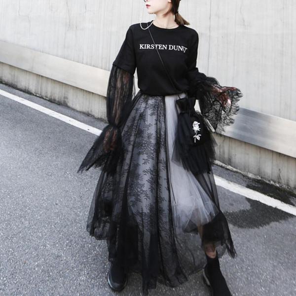 Gothic vita alta in pizzo cuciture donne a cinque strati gonna di maglia gonna soffici gonne Fata in bianco e nero danza abiti in tulle di partito