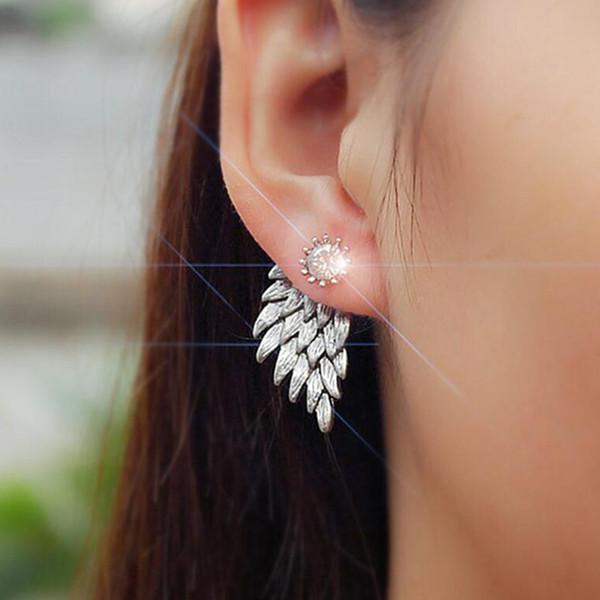 Fabrik Direkten Engel Flügel Stil Ohr Piercing Stud Modische Ohr Zubehör Diamant Verkrustete Körper Schmuck Für Frauen