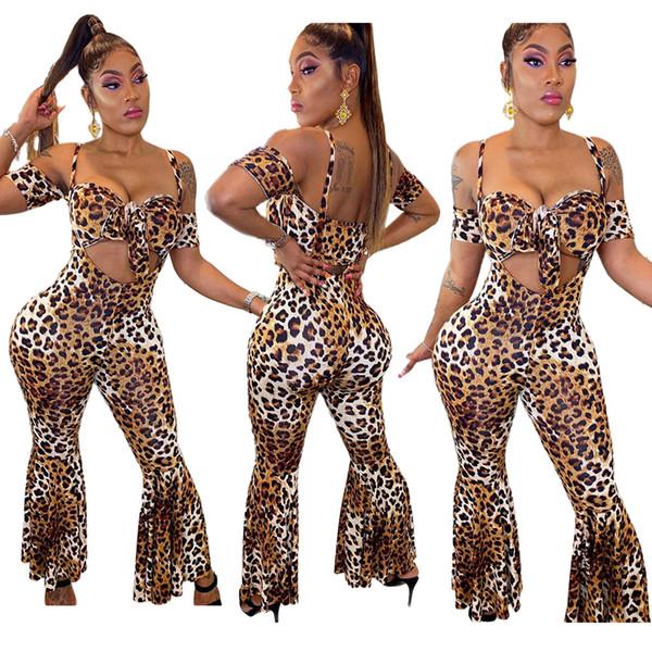 New Pants Flare Leopard Deux Pièces Ensembles manches courtes recadrée Top longues Tenues sexy boîte de nuit de Bell Pantalon Bas Tenues Automne